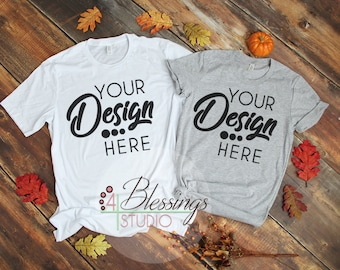 Download Free Fall Mens Womens Couple TShirt Bella Canvas 3001 Unisex Shirt Fall Mockup Athletic Heather Gray and White T Shirt Flat Lay Couples SVG Shirt PSD Template