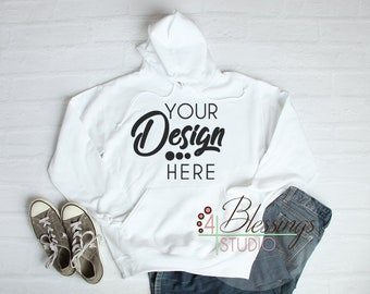 Download Free White Hoodie Sweatshirt Mockup Unisex Hooded Sweat Shirt Winter T-Shirt Jersey Shirt Flat Lay Long Sleeve Mock Up Photo Blank PSD Template
