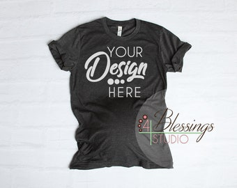 80db642e6549d Maternity T Shirt Mockup Bella Canvas 3001 Dark Gray Tee Shirt Flat ...