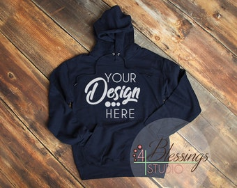 Navy Hoodie Sweatshirt Mockup Unisex Hooded Sweat Shirt
