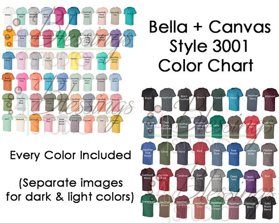 Bella Canvas 3001 Color Chart Mockup Every Color Digital File Etsy