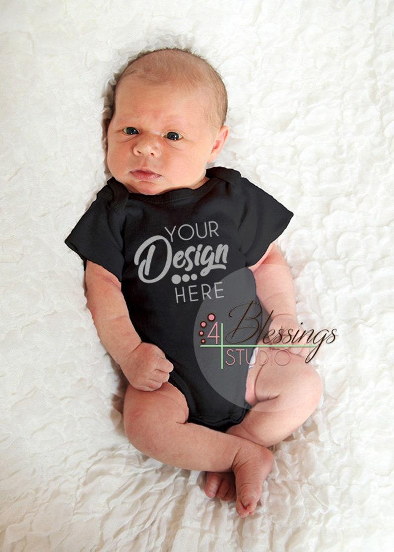Blank black baby bodysuit shirt mockup on model newborn baby etsy