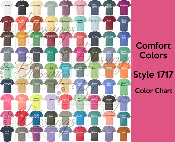 Comfort Colors Color Chart >> Comfort Colors 1717 Color Chart Digital File Garment Dyed Heavyweight T Shirt Color Guide Psd Jpeg Jpg Photoshop Tshirt Color Guide