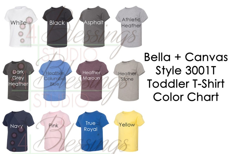 760574239 Bella Canvas 3001T Color Chart PSD Digital File Shirt Color | Etsy