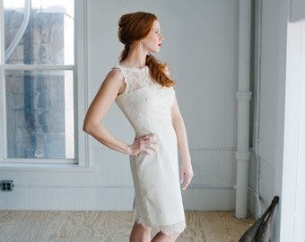Stella Lace Wedding Dress; Handmade Wedding Dress, modern and timeless bridal lace sheath with exposed zipper