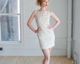Joanie Wedding Dress; Handmade Bridal Dress, stunning beaded sheath dress