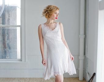 Odette Lace Wedding Dress; Handmade Wedding Dress, beautiful lace mini dress with plunging back and flared godet inserts