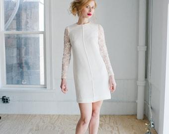 Patsy Wedding Dress; Handmade Bridal Dress, modern sheath in silk with beaded lace sleeves