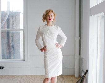 Juno Wedding Dress; Handmade Wedding Dress, beautifully modern tailored silk shantung suit with feminine bow details