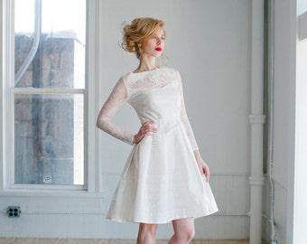 Sophia Wedding Dress; Handmade Wedding Dress, beautiful vintage bridal silhouette with lace and silk, pleated full skirt illusion neckline