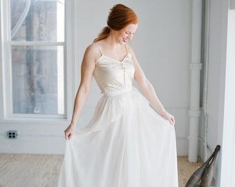 Cecily Wedding Dress; Handmade Wedding Dress, beautiful chiffon skirt with cascading peplum and shiny silky camisole