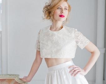 Opal Beaded Lace Crop Top Wedding Dress; Handmade Wedding Cropped Top; Bridal Crop Top