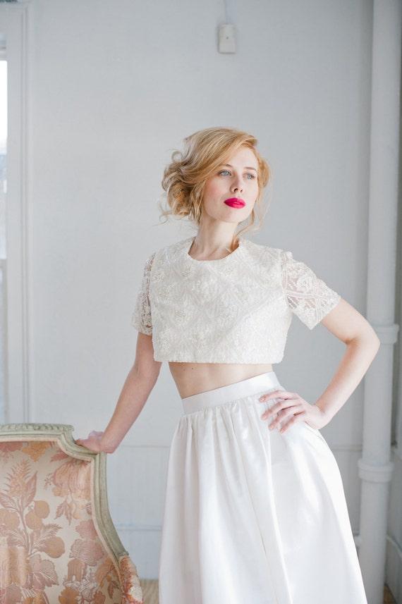 Opal Beaded Lace Crop Top Wedding Dress Handmade Wedding