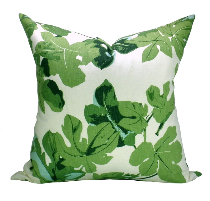 Pillow cover Fig Leaf Faded on Hemp green floral Spark image 0