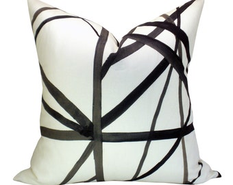 Channels pillow cover in Ebony/Ivory - ON BOTH SIDES