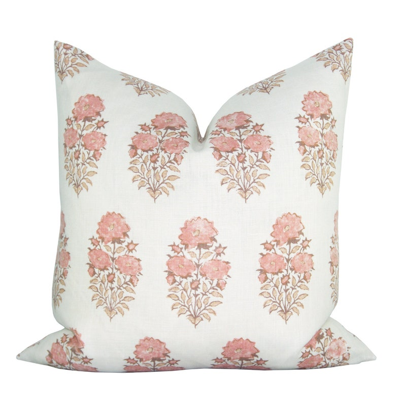 Mughal Flower pillow cover in Coral - Lisa Fine Textiles fabric