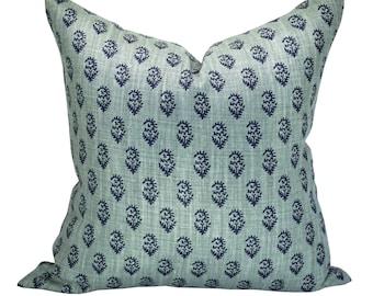 Rajmata Tonal pillow cover in Blue/Blue