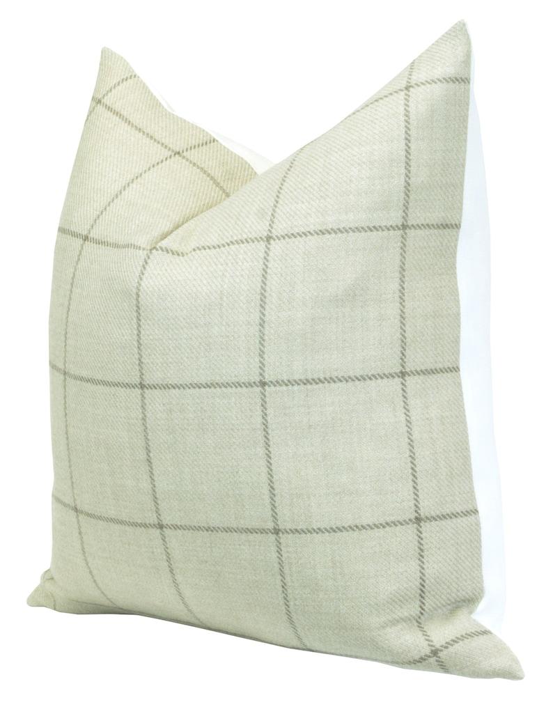 Bancroft Wool Plaid Malt Pillow cover Spark Modern pillow striped