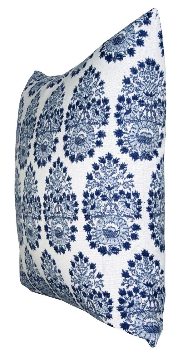 blue ikat outdoor pillow cover Ramati Azure Spark Modern pillow READY TO SHIP