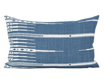 Tangiers lumbar pillow cover in Indigo/Natural