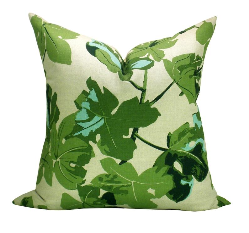 Pillow cover Fig Leaf Original on Natural floral Spark image 0