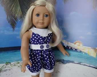 Purple playsuit for American Girl or similar 18 inch doll.