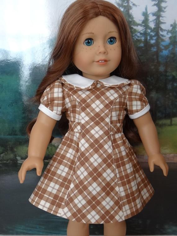 c0dfaf605b7 1940s or 1950s vintage style princess seam brown plaid dress