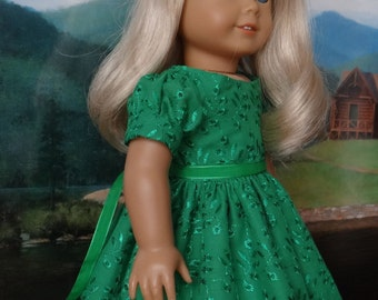 Kelly green eyelet party dress for American Girl or similar 18 inch doll.