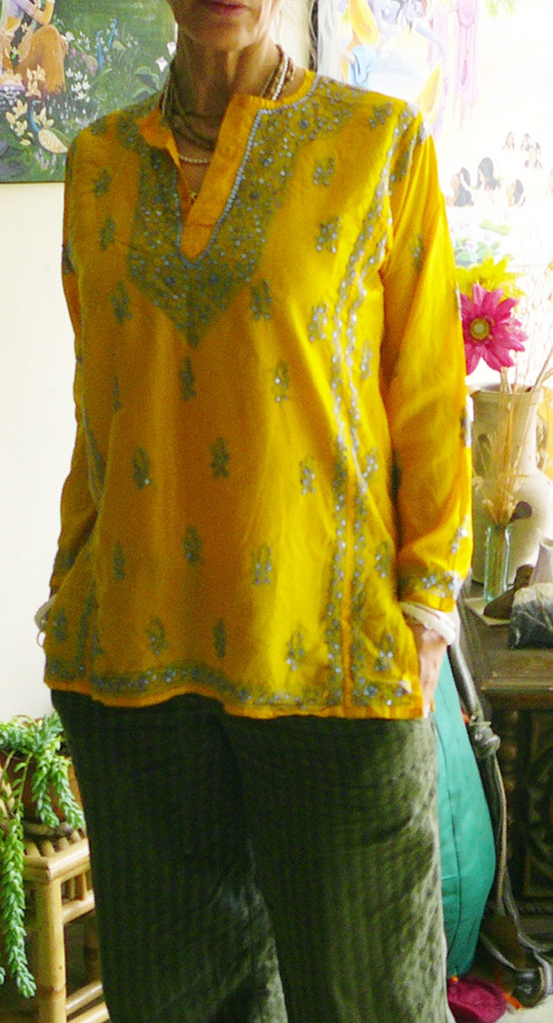 pure silk blouse kurta meditation sunshine shirt yellow blue sequins casual elegant hand embroidered size bust 44