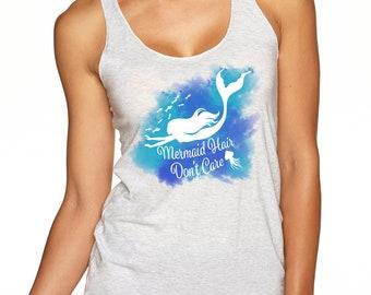 Mermaid Hair Don't Care Women's t-shirt | racer back tank top |Scuba Diving T-Shirt | Women scuba diver gift | Ocean lover gift | scuba gift