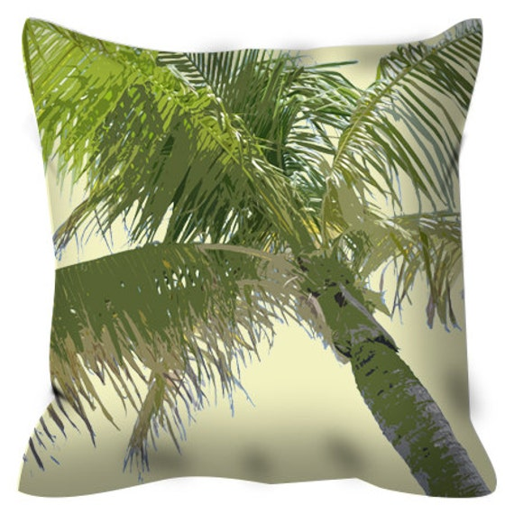 Tropical Palm Tree Throw Pillow With Pillow Insert 14x14 Etsy