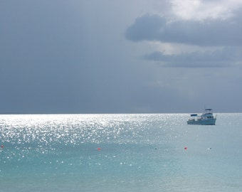 Caribbean Seascape   Fine Art Photography   Print or Greeting Card   Home Decor   Blue   Dive Boat   Dramatic Sky   sun on water