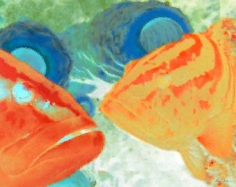 Colorful Fish Art   Underwater Art   Beach decor   Scuba art   Underwater Dive Art Print   Greeting Card   Orange Grouper   Ocean Art
