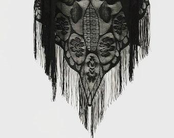 great lace   vintage wrap   shawl   fringe   black throw   1960s/60s