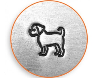 6mm Puggle Metal Stamp, ImpressArt Pug Dog, Puppy Design Stamp, Impress Art Stamps, DIY Jewelry Making Metal Stamping Tools, Supplies
