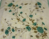 Green Poppies 1950's Vintage Scarf