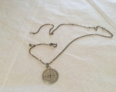Georgian  Sterling Silver coin pendant necklace