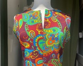 1960's Psychedelic Fluorescent print Maxi Dress