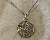 Sixpence pendant 1964 with sterling silver chain
