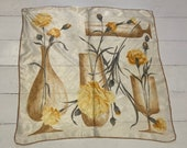 1950's Scarf hand rolled  Rayon with Yellow Flowers and Vases