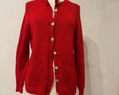 Bright Red hand Knit Cardigan (with repair)