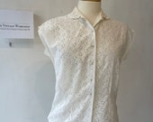 1960's Broderie Anglais Cotton Blouse