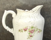 Antique Transferware Pitcher, Vintage Stone China Transfer Ware, Victorian, Cook Pottery Ironstone, Cottage Decor, White China
