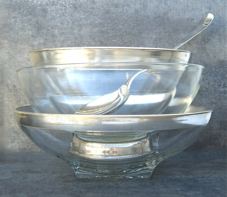 Thorpe Silver Rim Band Retro Sleek Simple 1 Mid Century Modern Serving Bowl Low Fruit Bowl Centerpiece