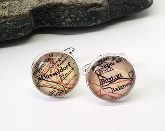 Custom Map Cufflinks, Personalized Cuff Links, Gift For Him