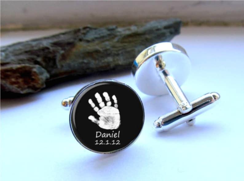 Handprint Cufflinks Personalized Keepsake For Dad Custom Cufflinks Baby Footprint Or Handprint Cufflinks