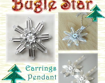 Beaded Snowflake Pattern / Tutorial (Instant Download PDF) Bugle Star