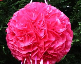 Wedding Pinata. Hot Pink Flower Ball Pinata. Pomander.  Kissing Ball Pinata. Bachelorette Party Activity.  Bridal Shower.