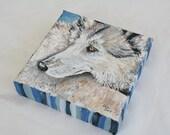 Original Acrylic Painting 6x6 Wolf Art, Timber Wolf Artwork, Mini Painting, Wildlife Painting, Wolf Lover Gift, Charity Donation, Nature Art