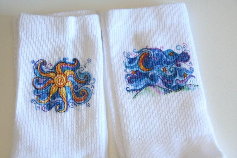 Wearable Art Celestial Socks Mother/'s Day Gift Sun Moon Socks Original Art Socks Unique Socks Gift Socks Crew Socks with Original Art